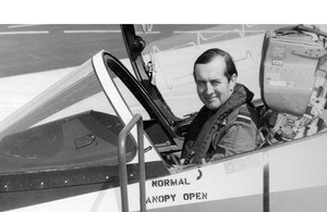Sir Michael Beetham in the cockpit of a Hawk at RAF Valley in 1973