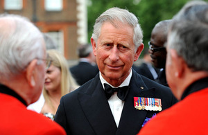 His Royal Highness The Prince of Wales talks to former members of the Airborne Forces