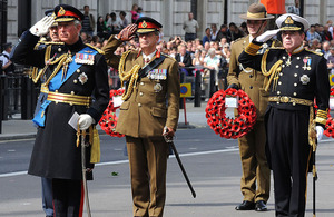 His Royal Highness The Prince of Wales leads the commemorations to mark the 65th anniversary of VJ Day at the Cenotaph in London