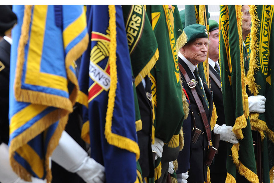 Royal British Legion and Burma Star standard bearers at the 65th anniversary of VJ Day commemorations in London