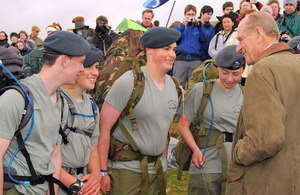 His Royal Highness The Duke of Edinburgh talks to young people taking part in the 2010 Ten Tors Challenge