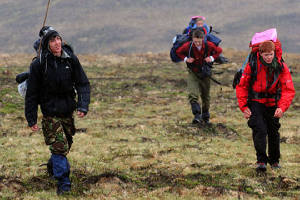 Youngsters taking part in the 2010 Ten Tors Challenge