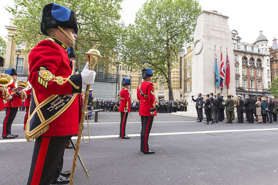 Band of the Corps of the Royal Engineers perform at the memorial ceremony