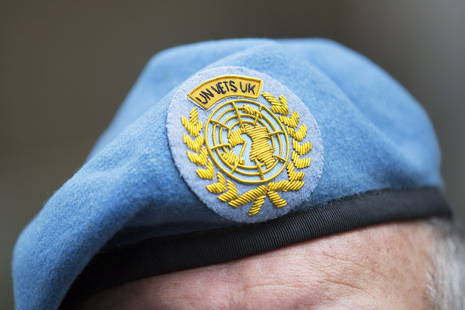 The famous UN peacekeeper's blue beret