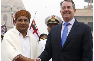 Dr Liam Fox is welcomed by the Indian Defence Minister, Shri A K Antony, during a visit to Delhi in November 2010 (stock image)