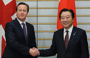 UK Prime Minister David Cameron meets with Japanese Prime Minister Yoshihiko Noda on 10 April 2012