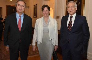 Defence Under-Secretary Marcos Robledo, Ambassador Fiona Clouder, and Minister of Foreign Affairs Heraldo Muñoz.