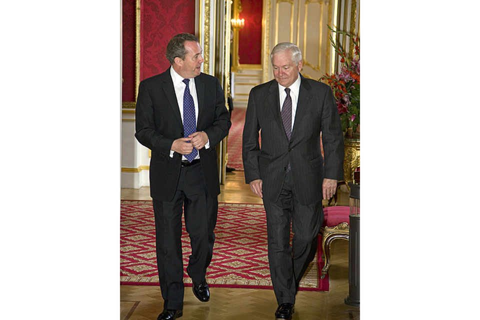 Secretary of State for Defence, Dr Liam Fox, with his US counterpart, Robert Gates, at Lancaster House in London