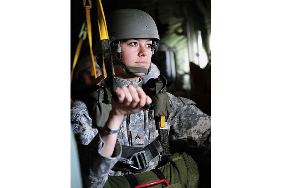 A member of the US Army's Civil Affairs and Psychological Operations Command (Airborne) prepares to jump during Exercise Airdrop Warrior