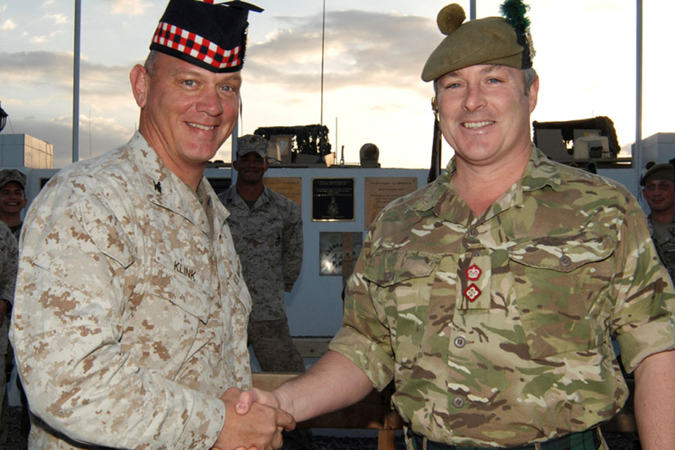 Colonel John Klink of the United States Marine Corps' Provincial Police Advisory Team with Lieutenant Colonel Adam Griffiths, Commanding Officer of 5 SCOTS
