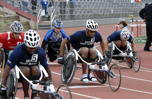 United States servicemen compete in the 200-metre wheelchair event during the second annual Warrior Games, in Colorado Springs in May 2011