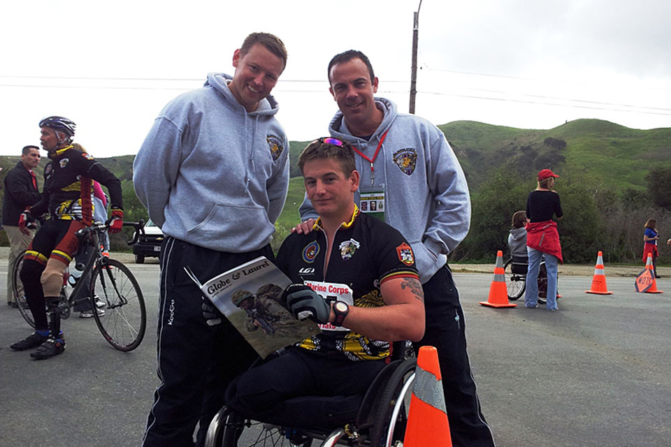 Royal Marines (left to right) Marine Earl James, Marine Joe Townsend and Corporal John Davis during Wounded Warrior trials held at Camp Pendleton in San Diego, USA, in March 2012