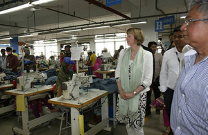 Alison Blake, British High Commissioner to Bangladesh, visited two readymade garment factories in Gazipur to reaffirm the UK's support for Bangladesh's RMG sector.