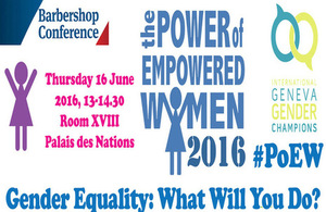 The Power of Empowered Women 2016 gender equality side event at the Palais des Nations, 16 June.