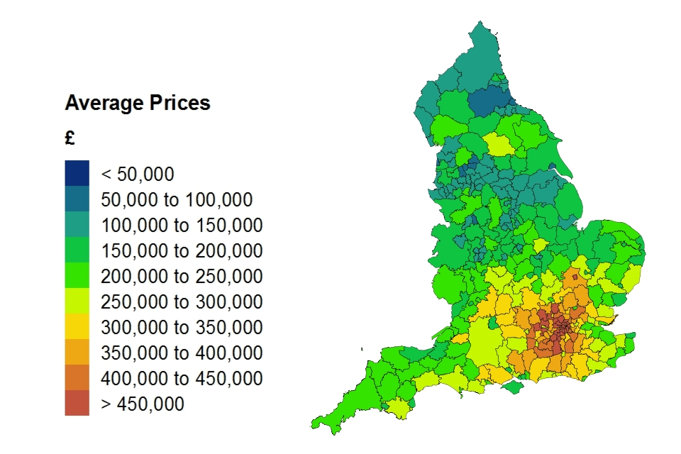 Average price by local authority in England