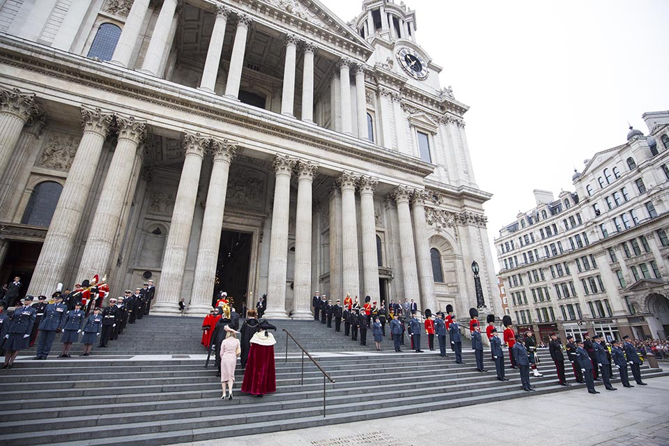 More than eighty Service personnel were invited to line the steps of St Paul's
