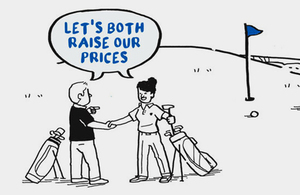 Illustration of two people saying 'lets both raise our prices'