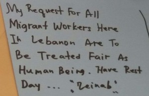 Migrant Domestic worker Zeinab writes her wishes