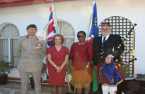 Colonel John McCardle, the UK Defence Advisor accredited to Namibia, HE Jo Lomas, UK High Commissioner, Hon Maureen Hinda, Deputy Minister MIRCO, Andrew Imrie, Cape Field Artillery Pipes and Drums