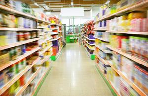 Supermarket aisle.