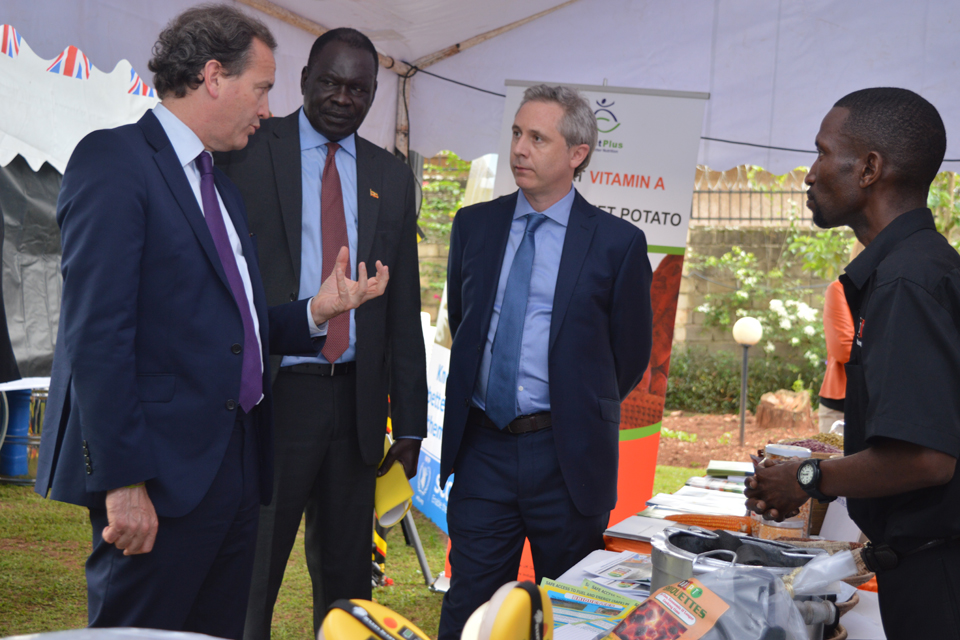 "Nick Hurd at relief agencies ""marketplace"" in Kampala Uganda"