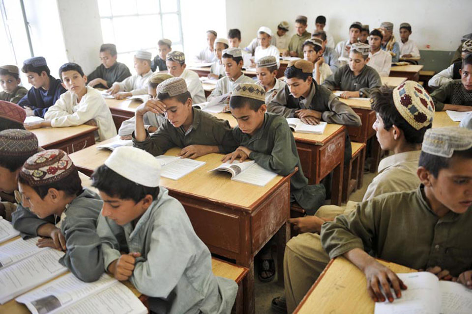 A lesson at Nad 'Ali Central School in Helmand province, Afghanistan