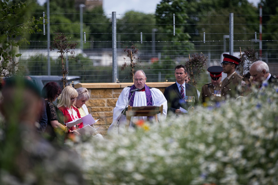 Padre Stephen Thatcher leading the Service of Dedication for the Repatriation Garden of Remembrance