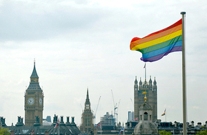 DFID marks London Pride 2016 by flying the rainbow flag.