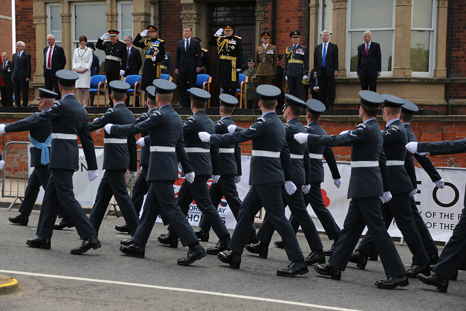 HRH The Duke of York, General Sir Christopher Deverell and the Prime Minister take the salute in Cleethorpes