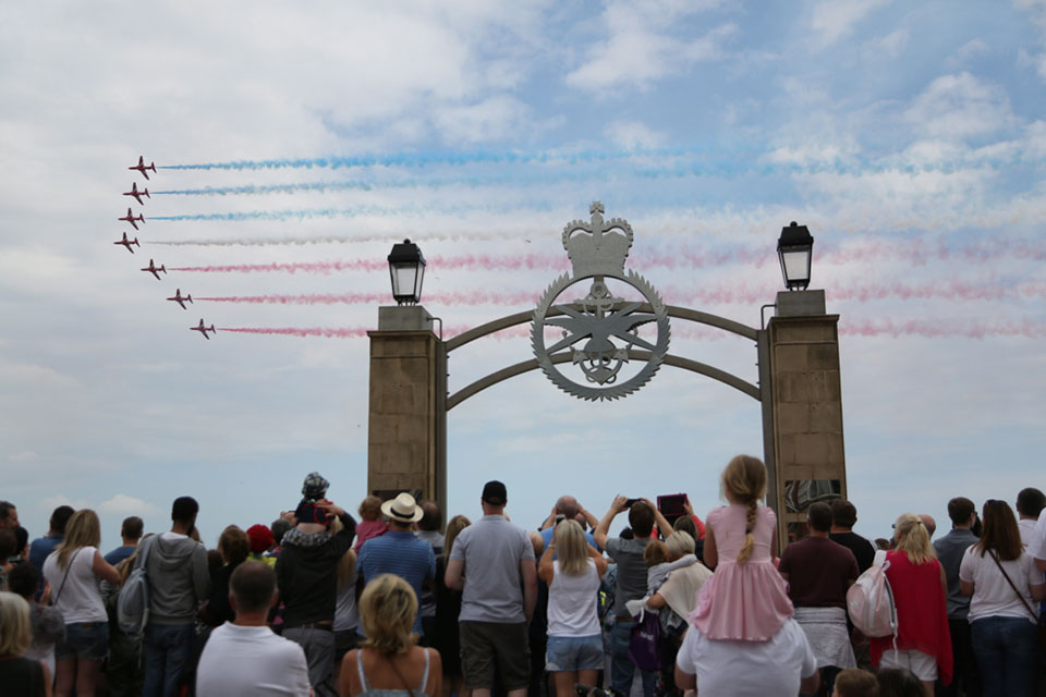 The Red Arrows fly past the Cleethorpes Armed Forces Gate