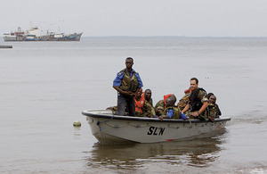 Maritime training wing members of the Royal Navy instruct the Sierra Leone maritime forces using Cutter patrol boats and inshore patrol craft