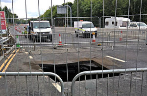 View of the hole discovered under the A1 near Gateshead.