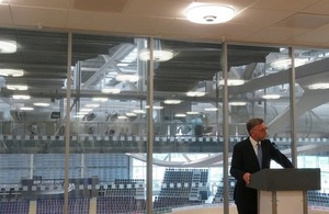 Scotland Office minister Andrew Dunlop addresses the sporting success reception.