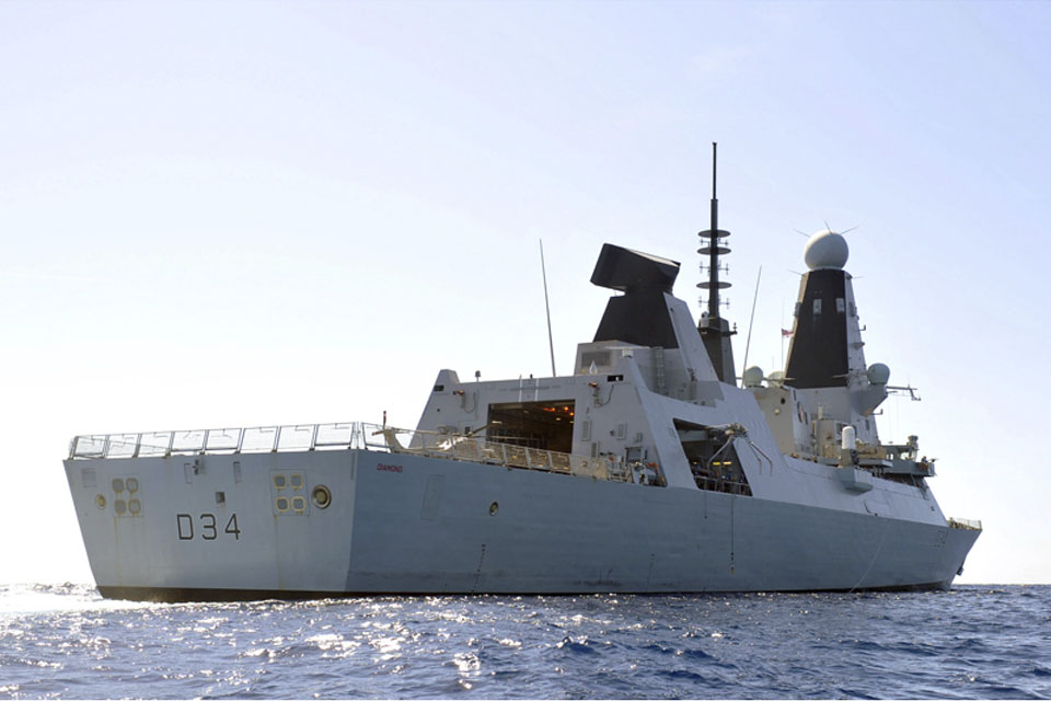 HMS Diamond pictured en route to the Gulf earlier in her deployment (library image)
