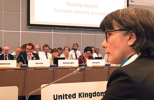 HMA Sian MacLeod delivers the UK statement to the OSCE Annual Security Review Conference opening session