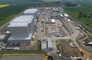 Aerial view of Bradwell nuclear site in Essex