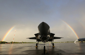 The first of Britain's new supersonic 'stealth' strike fighters has touched down in the UK for the first time.