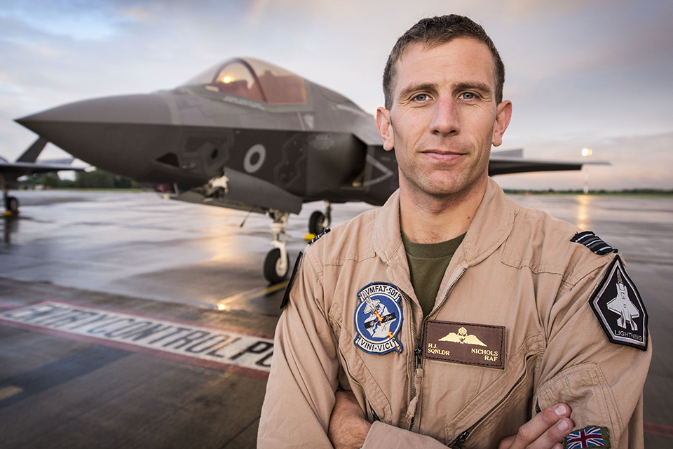 The F-35B Lightning II jet was flown by RAF pilot Squadron Leader Hugh Nichols on its first transatlantic crossing, accompanied by two United States Marine Corps F-35B aircraft from their training base at Beaufort, South Carolina.