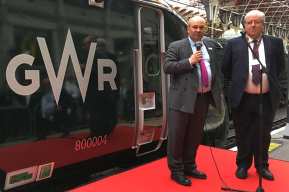Transport Secretary speaks at the launch of the class 800 train.