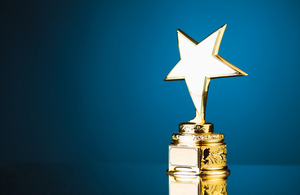 Golden award in a star shape