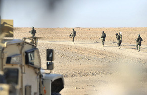 Afghan National Army warriors on patrol in the Bowri Dashte to the west of Gereshk