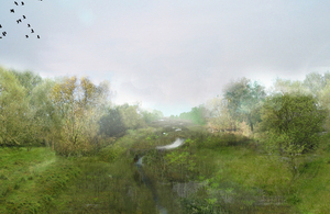 Artists impression of how Ducks Marsh may look following completion of the works (construction vehicles will access this area via the temporary track through Northbrook golf course)