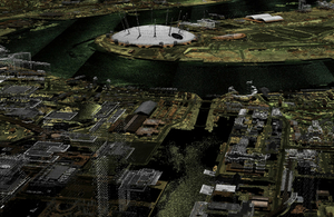 The Millennium Dome/O2 visualised using Environment Agency LIDAR point cloud data