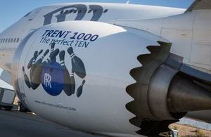 Close-up of the Trent 1000-TEN engine on a Boeing 747