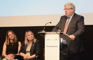 Patrick McLoughlin speaking at the central London HS2 Ltd supply chain event.