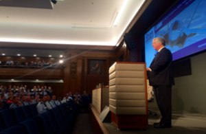 Defence Secretary Michael Fallon addresses delegates at RUSI's airpower conference
