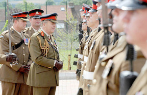 General Sir Timothy Granville-Chapman inspects soldiers