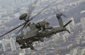 4 Regiment Army Air Corps Apache in formation flying over London for the Afghanistan Commemorative Parade and Flypast.