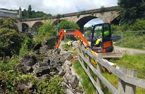 Image shows the work taking place in Todmorden