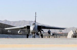 A Tornado aircraft preparing to take off from Kandahar Airfield
